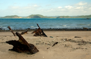 remains of a boat on the beach at Goods Island