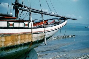 A pearling lugger on the a Thursday Island slip in 1958, quite possibly on my backyard beach.
